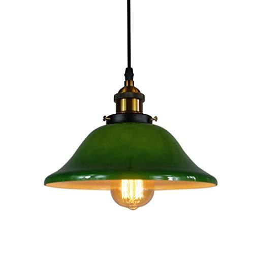 Lampadario in ferro battuto in vetro verde, lampadario industriale nordico retrò camera da letto lampada da comodino caffetteria ristorante decorazione della tavola lampada a soffitto lampadario