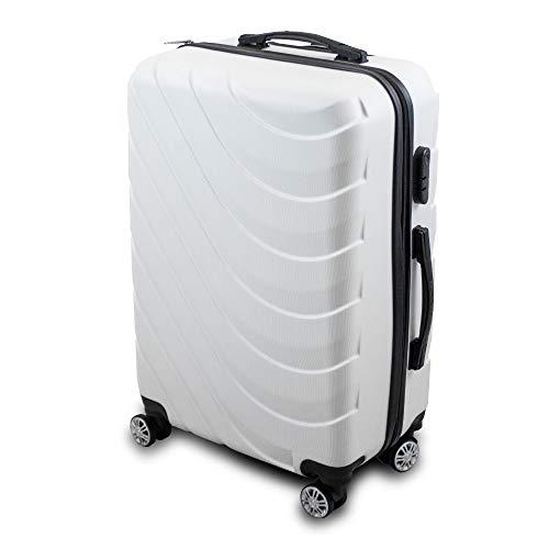 Trolley Hartschalen Koffer Hartschalenkoffer Hardcase Größe L - Modell Wave 2018 (Weiß)