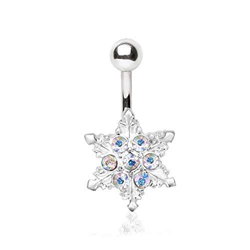 eeddoo® navelpiercing, roestvrij staal, zilver, met design sneeuwster, regenboogkristallen