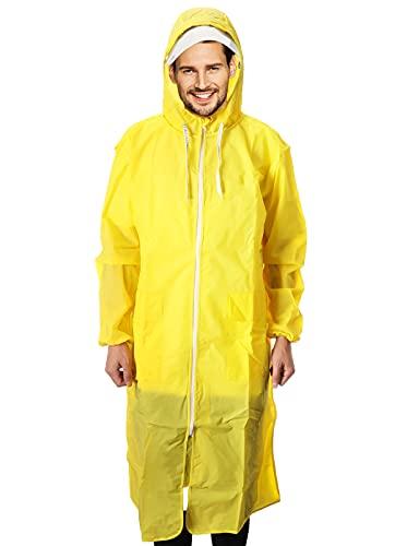 yumcute Poncho de lluvia Eva Chubasquero unisex reutilizable impermeable transpirable portátil chubasquero para camping, senderismo, pesca amarillo XL