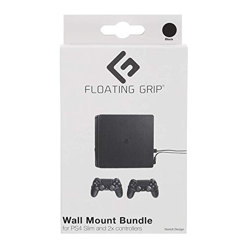 FLOATING GRIP Wall Mounts for PlayStation 4 Slim (PS4 Slim) + 2x Controllers. Color: BLACK. Storage your PlayStation on the wall right next to your TV