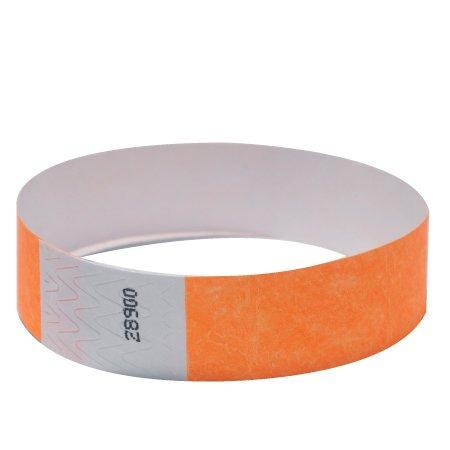 "EventWristbands Premium 3/4"" Tyvek Wristbands (100 Count, Neon Orange) - Red, Green, Blue, Yellow & Orange Colored Event Wristband Paper Bracelets - Neon Wrist Bands for Festivals"