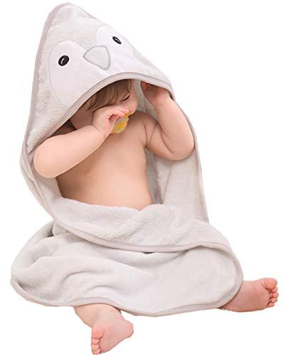 Hayisugar Baby Kapuzenhandtuch Babyhandtuch Badetuch für Neugeborene, Mädchen, Klein Kinder Baby Badehandtuch mit Kapuze aus Hochwertig Bambusfaser, extra weich Kuschelig, Pinguin