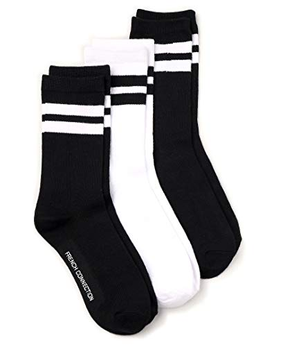 French Connection Casual Women's Socks (Black/White Stripe, Medium)