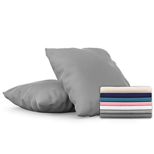 Dreamzie - Set de 2 x Funda de Almohada 60x60 cm, Gris Antracita, Microfibra (100% Poliéster) - Fundas de Almohadas Hipoalergénica - Fundas de Cojines de Calidad con una Suavidad Incomparable