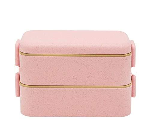 Nahasu Lunchboxen, 800 ml, gesundes Material, doppelschichtig, Weizenstrohhalm, Bento Boxen, Mikrowellen-Geschirr, Lebensmittel-Aufbewahrungsbox, Lunchbox, von Nahasu rose