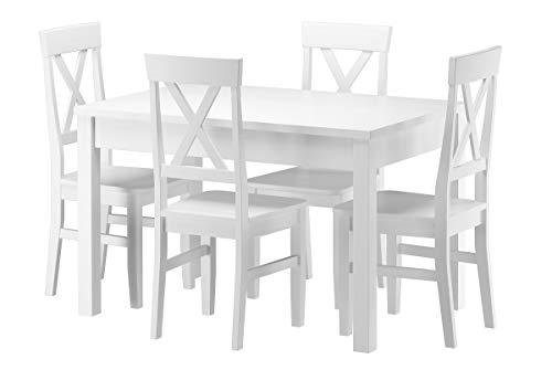Erst-Holz® Massivholz-Essgruppe mit Tisch und 4 Stühlen Kiefer waschweiß 90.70-51 A W-Set 23