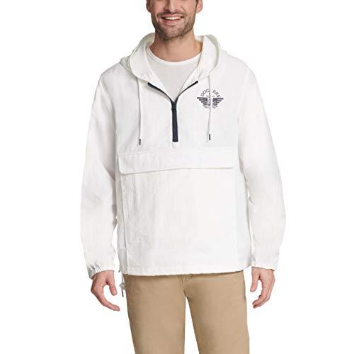 Dockers Men's The Tyler Lightweight Hooded Popover Jacket, White Taslan, X-Large