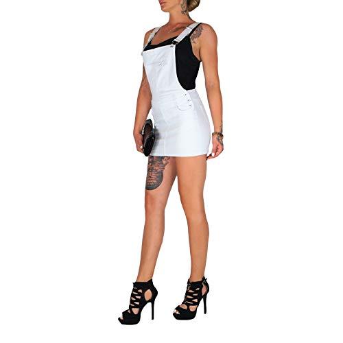 Dresscode-Berlin DB Damen Stretch Latz Jeanskleid in weiß (L / 40, Weiß)