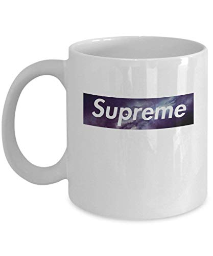 LESKETH Supreme Galaxy Coffee Mug Cup (White) 11oz Supreme Galaxy Emblem Logo Yeezy Gift Merchandise Accessories Shirt Poster Sticker Pin Decal Artwork Decor