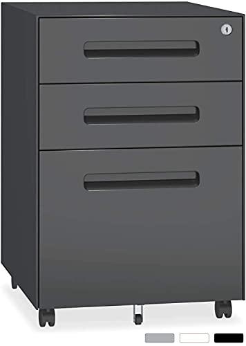 YOLEO Metall Rollcontainer Stahl Rollcontainer mit 3 Schubladen und Hängeregistratur Abschließbarer Büroschrank Bürocontainer 48x40x59 cm (Black)