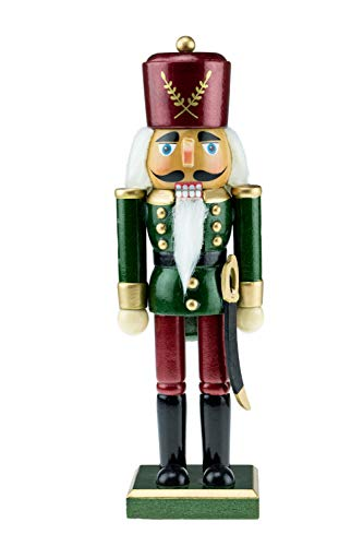 Clever Creations - Traditioneller Nussknacker-Soldat mit eleganter Militäruniform - aus Holz - perfekt für Regale und Tische - Festliche Weihnachtsdeko - grün und weinrot - 26 cm