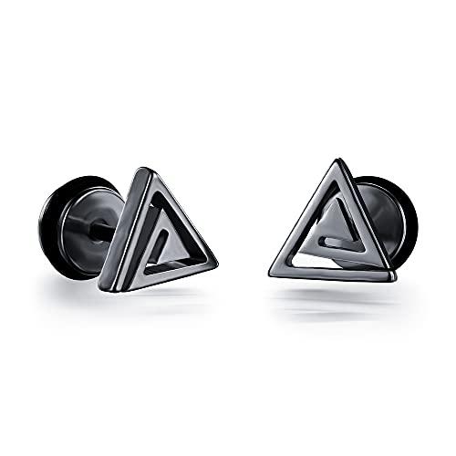 RSHJD Tornillos de triángulo de Oro galvanizado Pendientes de Titanio para Hombres Pendientes de Acero de Acero Regalos para un Amigo,Negro