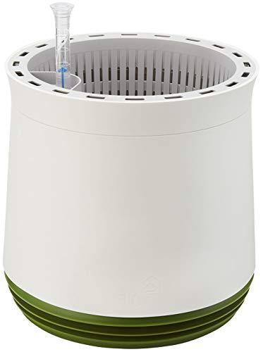 AIRY Pot M (weiss/grün) • Natürlicher Luftreiniger filtert Schadstoffe, Allergene & Gerüche aus der Raumluft • Inkl. 6 L AIRY Base Substrat, Wasserstandsanzeiger & Wassertank (1,6 L)