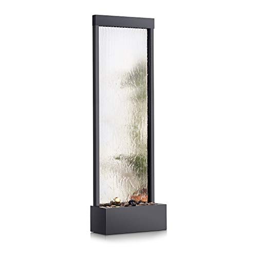 Alpine Corporation MLT102 Mirror Waterfall Fountain with Stones and Light, 72 Inch Tall, Silver