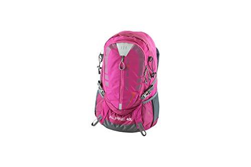 NOWI Trekkingrucksack praktischer moderner Outdoor Rucksack mit Regenhaube Brustgurt gepolsterte Schultergurte Schlaufen für Hiking Pole 40 Liter Volumen (Purple)