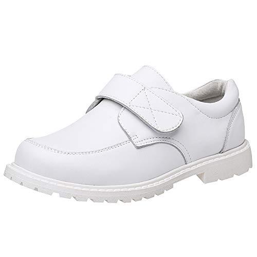 rismart Niño Punta Redonda Zapato Oxford Vestir para Traje Escuela Calzado(Blanco 16,29...