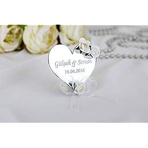 20 x Gastgeschenk Plexi Herzform personalisiert – Geschenke für Gäste – Hochzeitsgeschenke, Verlobungsgeschenke
