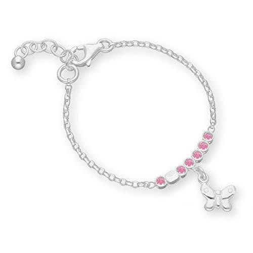 butterfly Pulsera para niña de plata de ley 925, diseño de mariposa, color rosa, longitud ajustable, con caja de regalo