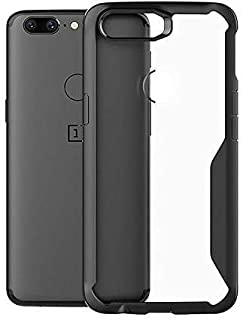 Plus Bumper Case with Clear Back Hard Panel Protective Case Cover for OnePlus 5T (Black)