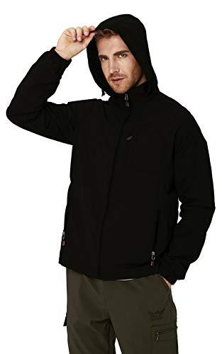RAISEVERN Men Sports Jackets Water-Resistant Windbreaker Black Jacket Coat Outdoor Lightweight Casual Jacket Hood for Daily,Travel XL