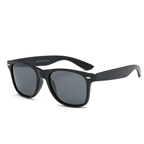 Gafas de sol polarizadas Mujeres Hombres niños Damas Unisex Protección UV400 Antideslumbrante con Estuche Gafas de sol de gran tamaño Retro Moda para Deportes conducción Pesca Negro Plástico gris