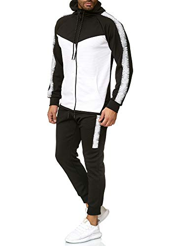 OneRedox Herren Jogginganzug Sportanzug Trainingsanzug Sweatshirt Hose Jogging Anzug Modell 1053 Schwarz L