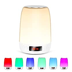Night light Portable Bluetooth Speaker with Alarm Clock,Smart Touch Beside Lamp,Level 3 Warm Light and Colorful Color Night Light for Kids,Support TF and SD Card,Gifts for Teenage Girls,Kids,Women,Men
