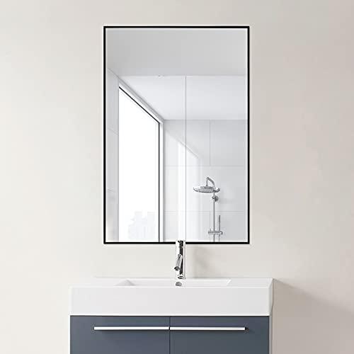 VANMIRRO 鏡 矩形壁掛け ミラー 玄関 洗面 浴室 リビング 化粧鏡 アルミ合金 おしゃれ HD鏡面 取り付け 飛散防止 浴室鏡, 30*40cm, ブラック