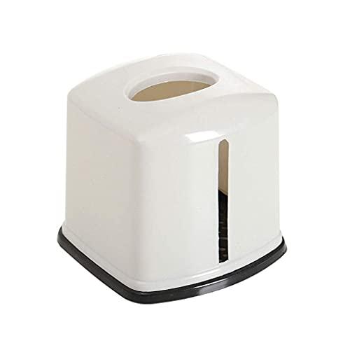 Caja de pañuelos de Caja de Tejido Caja de Tejido Multifuncional, Sala de Estar en el hogar Caja de Papel de Rollo de Rollo, Caja de servilleta a Prueba de Agua plástica Redonda, 14.5 × 13.5cm