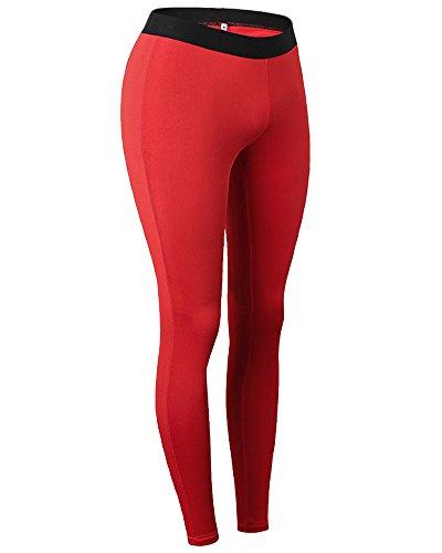 Legging Pantalon de Sport Femme Complets Longueur Yoga pour Courir Fitness Rouge XXL