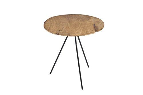 Pirouette Paris-Table d'Appoint en Teck avec Pieds 55 x 55 cm, Bois Naturel-Métal