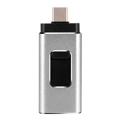 Baalaa Memoria USB USB 3.0 Unidad Flash USB 3 en 1 Unidad Flash USB Pendrive C para Android/Tablet/PC (Plata 128G)