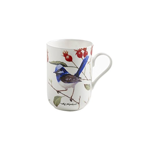 Maxwell & Williams PBD110 Birds of Australia Becher, Kaffeebecher, Tasse mit Vogelmotiv: Prachtstaffelschwanz hell, in Geschenkbox, Porzellan