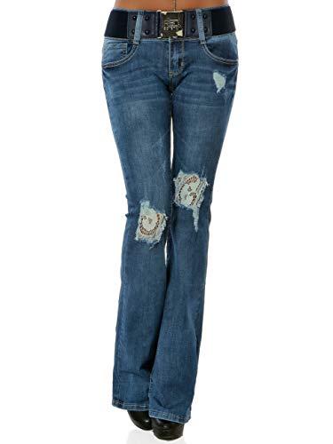 Damen Boot-Cut Jeans Hose Destroyed Denim inkl. Gürtel DA 16029 Farbe Blau Größe M / 38
