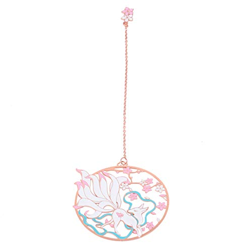 NUOBESTY Metal Bookmarks with Flower and Nine-Tailed Fox Pendant Folding Fan Design Ideal Gift for Friends Book Lover (Shining Light Rose Golden Chain Paper Packaging)