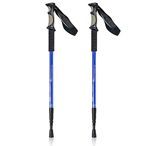 powerful BAFX Products – 2 Sets – Impact Resistant Sticks for Hiking / Walking / Trekking – 1 Pair, Blue, Royal…