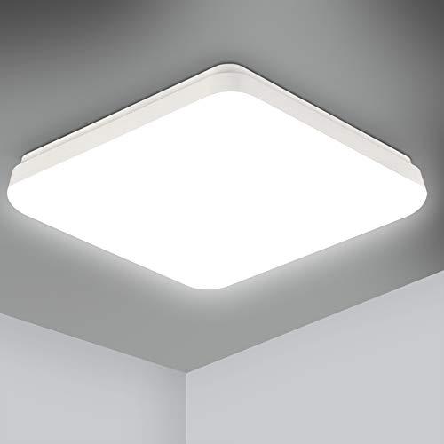 Led Deckenleuchte Bad, Oeegoo 18W 1400LM LED Deckenlampe Badlampe, IP54 Wasserfest Badezimmerlampe, Flimmerfreie Schlafzimmerlampe für Wohnzimmer, Küche, Balkon, Büro, Korridor, 4000K Neutralweiß