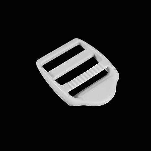 50pcs/Pack Plastic White Ladder Lock Slider Buckles for Backpack Bag Release Straps Webbing Sewing Accessories #FLC055 (1