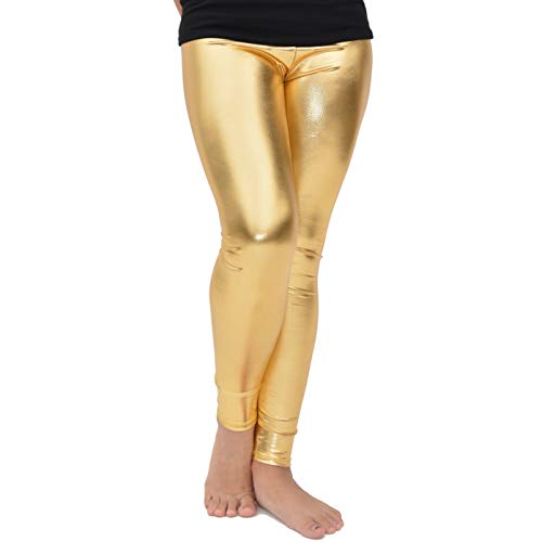 Stretch is Comfort Girl's Cotton Footless Leggings Metallic Gold Small