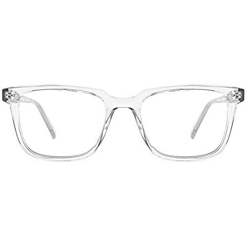 TIJN Blaulichtfilter Brille Ohne stärke sehstärke Retro Quadratischer Leicht Brillenrahmen Durchsichtig Linse für Damen und Herren