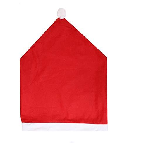 Fundas para sillas navideñas,Home Rojo Decoración Navideña Fundas para Sillas, Juego de 6 Gorro de Papá Noel Cubiertas de la Silla Cubre Respaldos Navideños para Decoración Fiesta o Cena de Navidad