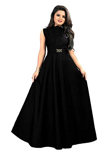 vaidehi creation Women's Twill Tafeta Anarkali Style Gown(Black)