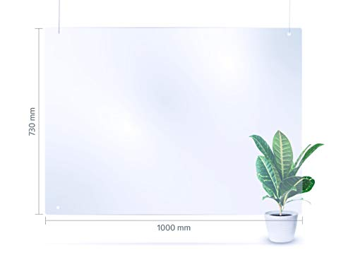 reflecto Spuckwand zum Aufhängen   100cm oder 73cm breit   hängende Ausführung als Nies- und Spuckschutz gegen Tröpfcheninfektionen   transparente Kunststoff-Barriere zum Virenschutz (100 x 73 cm)