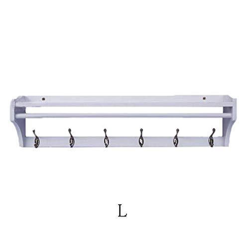 POETRY Wandkapstok houten plank multifunctionele zwevende plank hanger A ++ (kleur: wit grootte: L)