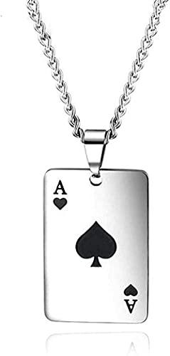 ZGYFJCH Co.,ltd Collar Ace of Spades Conjuntos de Joyas Collar para Hombre Corazones en botón Pendientes Tarjetas de póquer de Acero Inoxidable Regalos para Fiestas de la Suerte Regalo