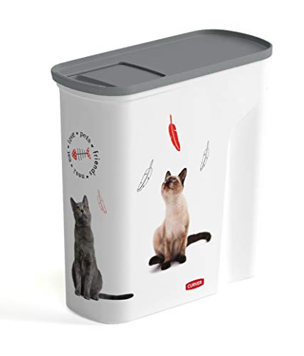 CURVER | Verseuse 6L/2.5Kg - Love pets - Chats, Blanc, Pet dry food container, 27,8x11,8x27,9 cm