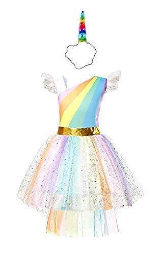Sukienka na karnawał z jednorożcem Multi + opaska na czoło, pomysł na przebranie dla dziewczynki rozmiar 100 cm - 2-3 lata