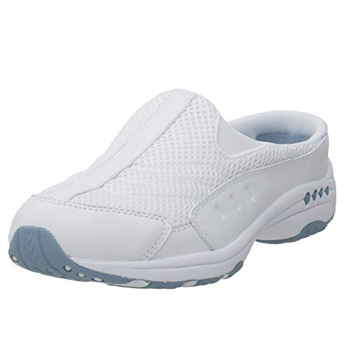 Easy Spirit womens Traveltime Clog White/Light Blue 10 W US
