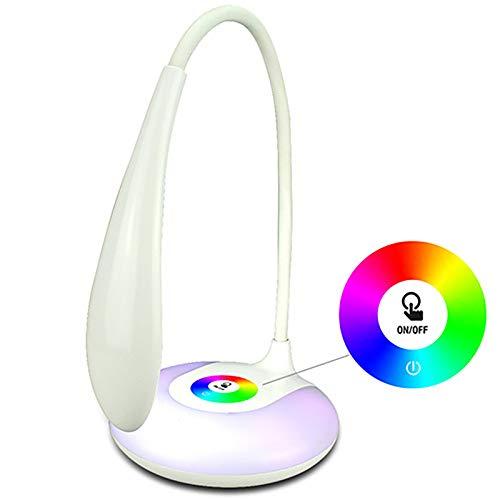 STHfficial Studie, bureaulamp met gekleurd nachtlampje op de poort, 6 USB-bureaulamp voor kinderen, met touchscreen